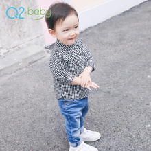 Q2-baby New Long Sleeve Checkered Infant Baby Boy Wears Clothes Shirt