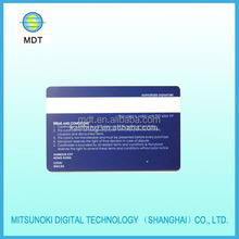 pvc card with white signature panel of back side