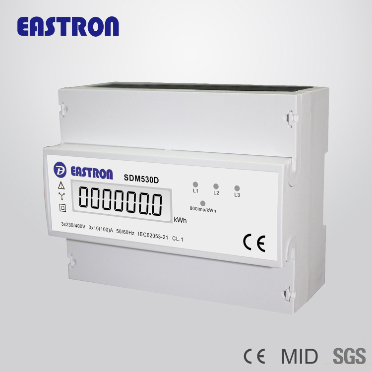 SDM530D 3 phase 4 wires Energy Meter , kWh meter with pulse output,CE approved