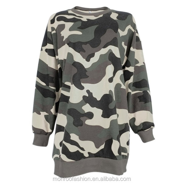 monroo Camouflage Women Dresses Long Sleeve Long Tops Tee Loose Tunic Mini Dress