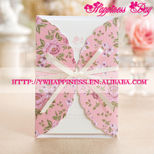 Korean Style Pink Wedding Invitation Cards Laser Invitation Wedding Invitation Letter For Event & Party Supplies