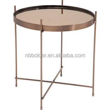Wholesale round rose gold plating foldable side coffee tray mirror table home furniture decoration
