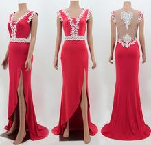 M626 D.Y fashion elegant v-neck sleeveless backless lace perspective jag red long party dress