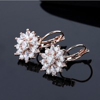 High-Grade Hypoallergenic Perfect Rose Gold / White Gold / Champagne Plated Snow Flower CZ Hoop Earrings Jewelry Wholesale