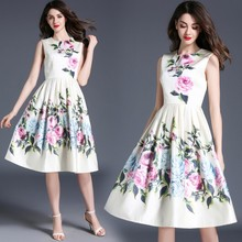 X80580B summer fashion korean new style flower dress woman lady new design long dresses