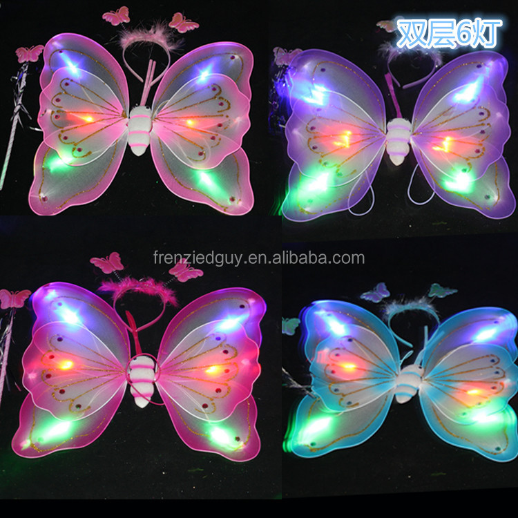 GIRLS WAND PARTY CUTE BUTTERFLY FAIRY ANGEL LED WINGS