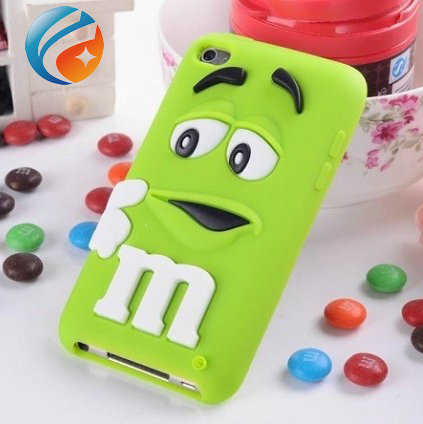 Cute 3D cartoon Silicone M&M Chocolate Beans Case cover for ipod touch 4 itouch 4 ,Accept Paypal