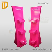 Fashionable custom POP pink cosmetic pocket floor stand for trade show