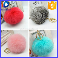 2016 Rabbit Fur Ball Keychain Real Fur Pom Pom Keyring llaveros For Women Bag Charms