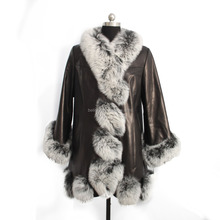 New arrival genuine fox fur leather jacket for women