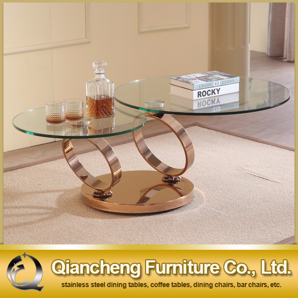 Clear glass top acrylic coffee table with rose golden stainless steel