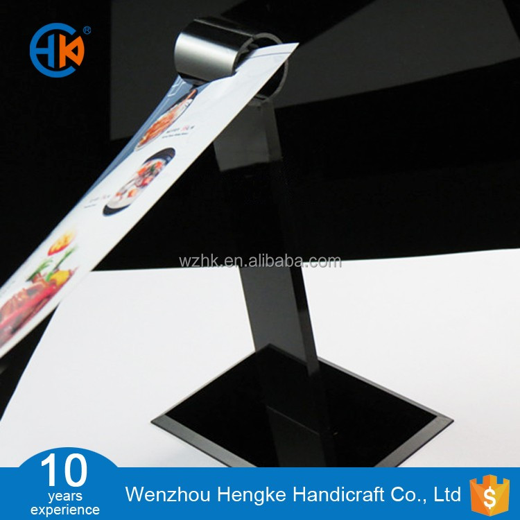 New design Black acrylic table menu display holder for restaurant