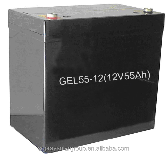sealed maintenance free deep rechargeable 12v/55A solar gel battery