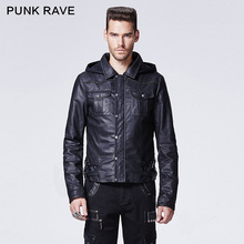 Y-609 winter stand up man leather short jackets with a hood