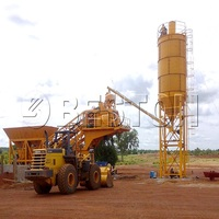 Mini mobile wet type 25m3/h concrete batching plant