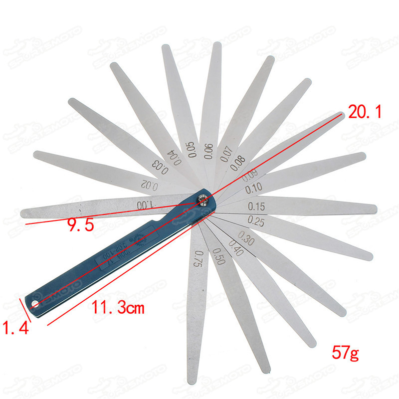 Stainless Steel 0.02mm to 1mm 17 Blade Thread Thickness Gap Metric Filler Feeler Gauge Measure Measurement Tool