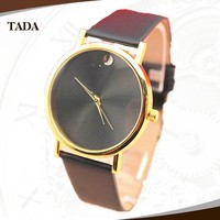 geneva style without logo sunny veins glossy face leather band men/women fashion quartz watches