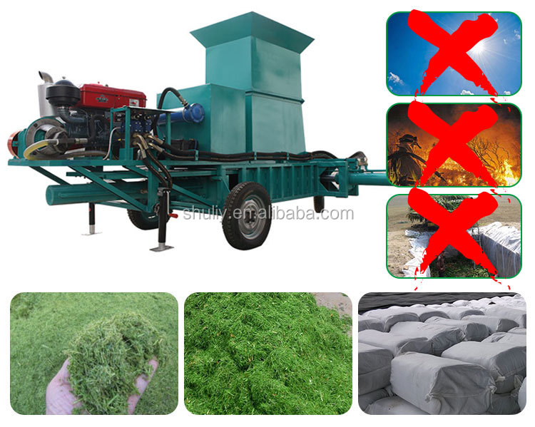High Density corn silage baling and wrapping machine hydraulic press baler