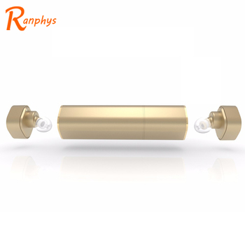 Ranphys High Quality Twins Lipstick Stereo Hifi Bluetooth Wireless Earphone with Power Bank