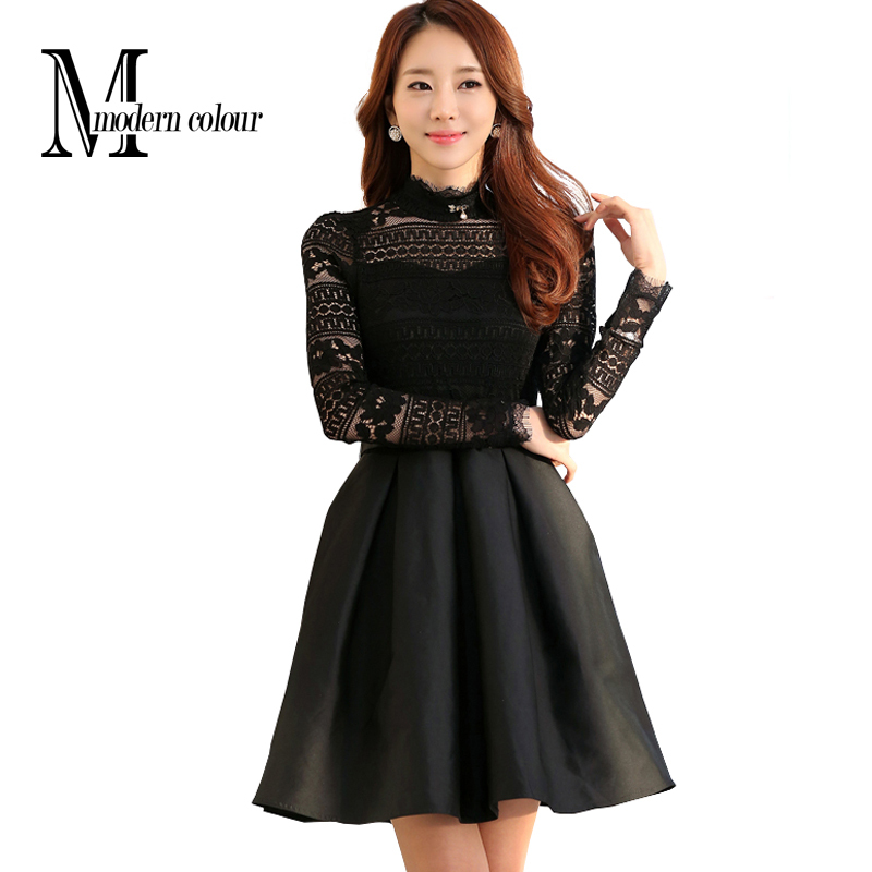 Cute Women Lace Long Sleeve Dress 2015 Woman Winter And Autumn Dresses New Korean Style Elegant Women Pleated A Line Dress Black