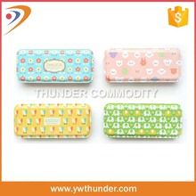 PP material square hard plastic pencil cases with full color combination for school
