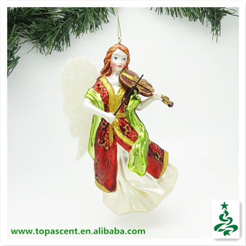 2014 classical hanging glass angel christmas ornaments from direct factory