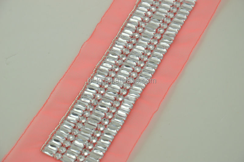 pink mesh white acrylic beaded lace trims for women garment