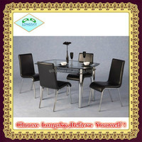 Cheap modern black Glass dining table with tempered glass and stainless leg