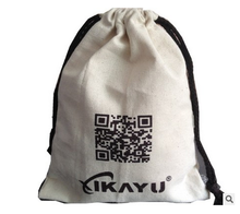 Wholesale custom small printed white canvas packaging cotton drawstring bag