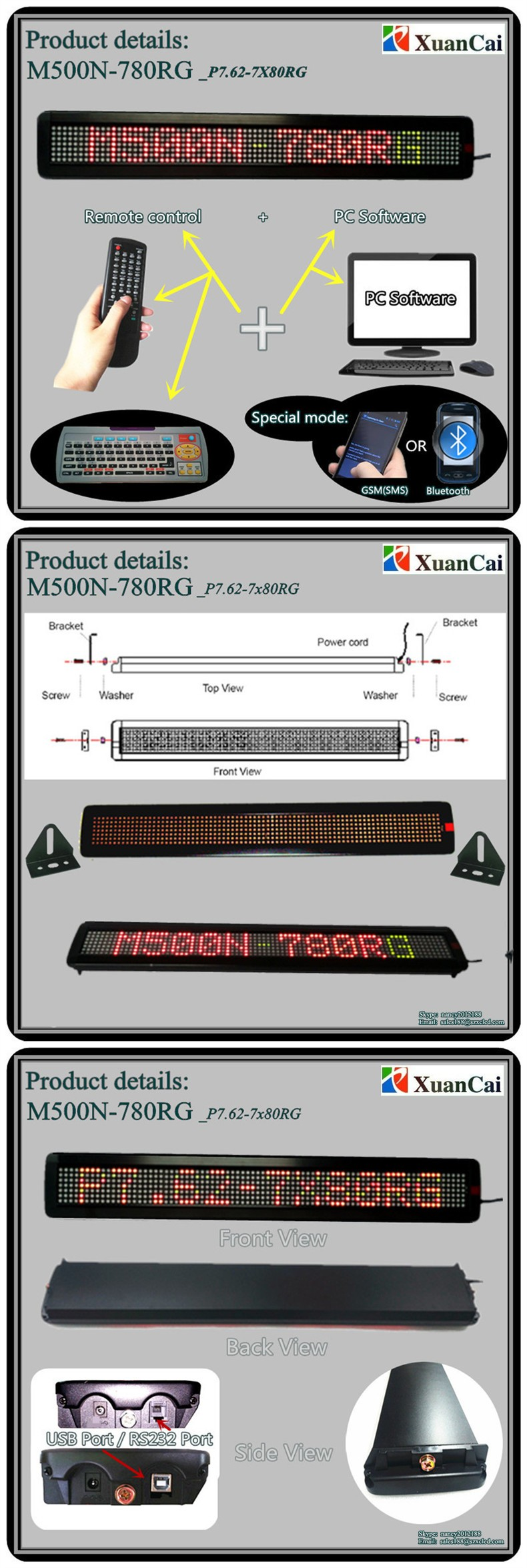Promotion! M500N-780RG(P7.62-7x80) 5VDC100-240VAC Tricolor Remote control Wall lamp lighting wireless led message board