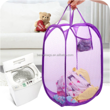 Folding Pop Up Dirty Clothes Linen Laundry Folding Mesh Storage Basket