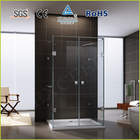 Luxury frameless with SUS304 support bar and towel bar rectangle shower screen EX-412