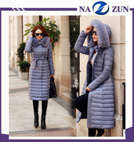 big plus size 2016 wholesale Trench korean style ladies dress jackets padding women winter long down cotton coats with fur hood