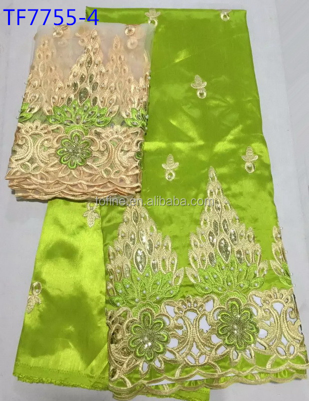 Tofine lemon raw silk fabrics price beaded raw silk george with 2 yards french net lace