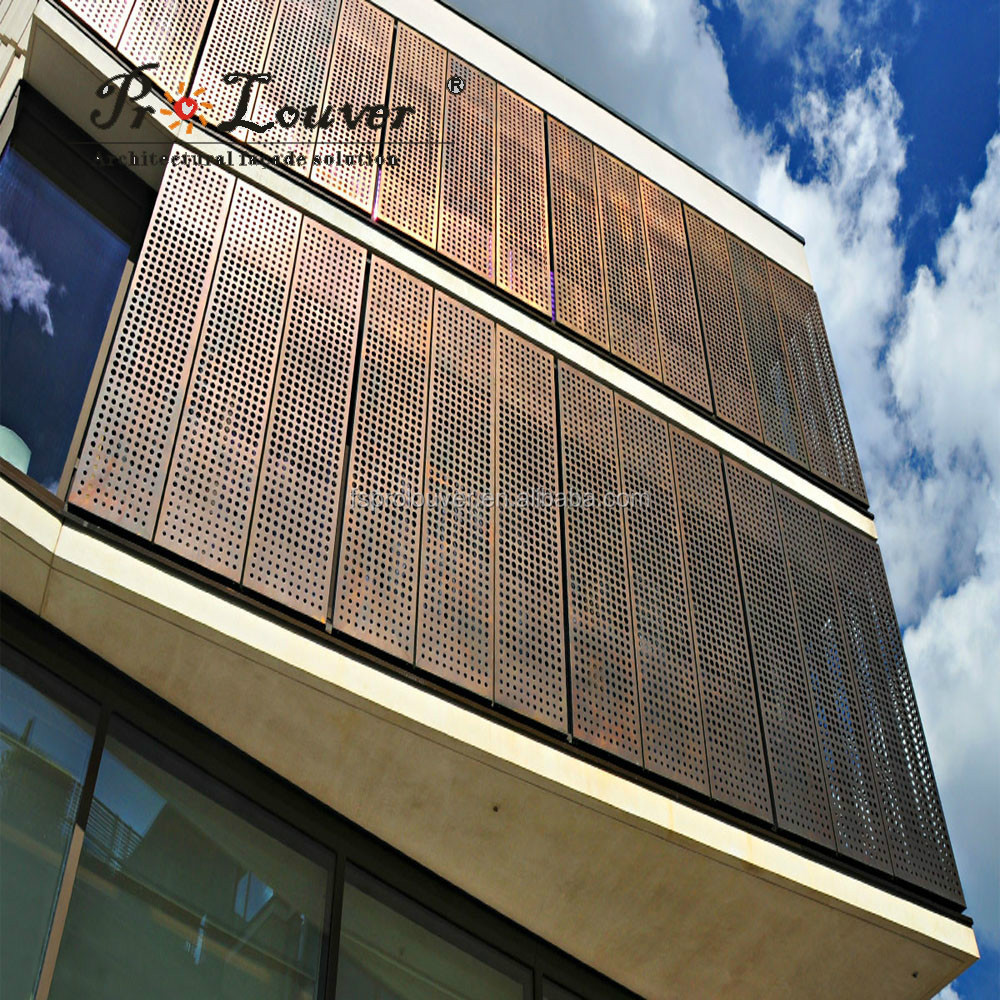Aluminium Curtain Wall Facades : Anodized akzonobel powder coating pvdf perforated metal