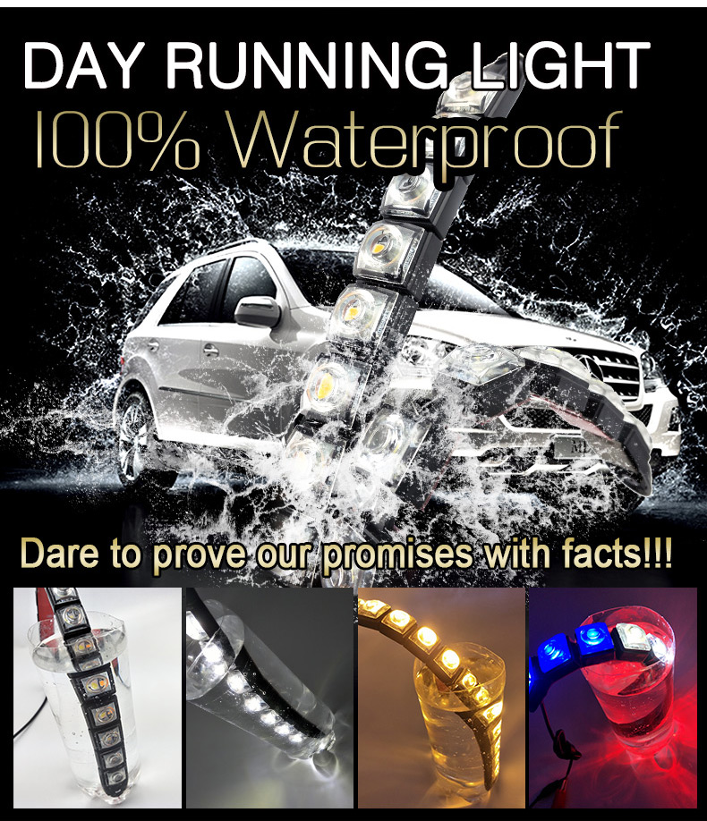 2pcs White 6 LED Long Strip Daytime Running Light DRL Car Fog Day Driving Lamp