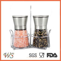 WS-PP01 Premium Salt and Pepper Grinder Set with a Bonus Stand Manual Salt and Pepper Mill