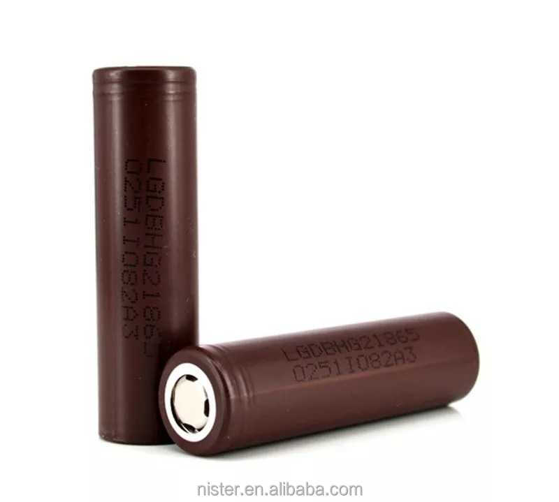 Hot selling 18650 battery lg hg2 authentic new chocolate lg hg2 20 amp 18650 3000mah high drain batteries
