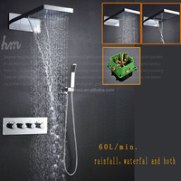 rainfall shower set thermostatic shower sets ,230*554 mm wall mounted waterfall rainall bath shower faucet