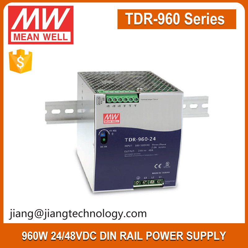 Mean well 960W 24V 40A Power Supply Three Phase Industrial DIN RAIL with PFC Function TDR-960-24