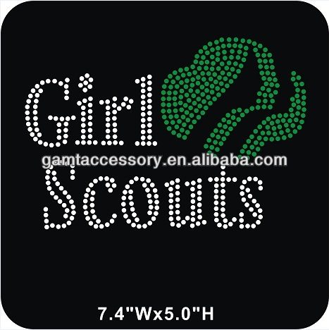 Girl Scouts Wholesale Rhinestone Heat Transfer Bling for T shirts