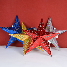 Multicolor Hollow Christmas Tree Decorations five-pointed star Flashing Hanging Christmas Star with laser paper