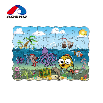 Custom kids favority cute cartoon style sealife coloring cardboard for jigsaw puzzle