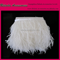 Ostrich Feather Fringe in white Feathers Ostrich feather fringe costume applique ribbon trimming clothing trim white