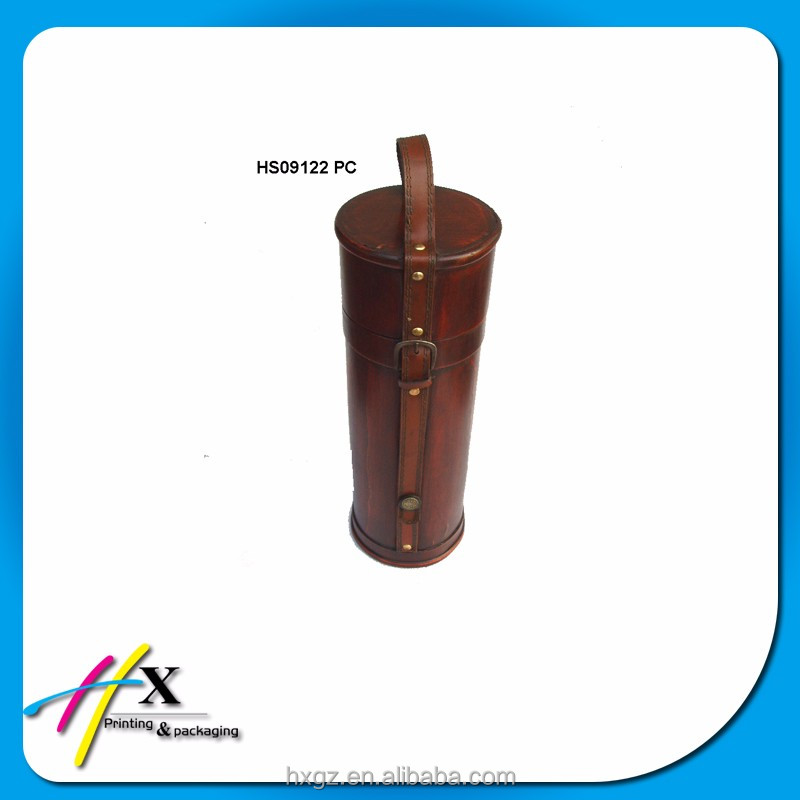 custom hot sale wooden round box pu leather portable wine box case with handle
