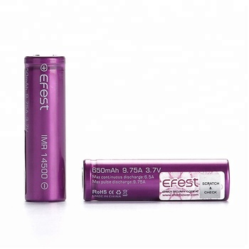 Efest 3.7V AA Rechargeable Battery 14500 650mah Flat Top High Dry Recycle Battery