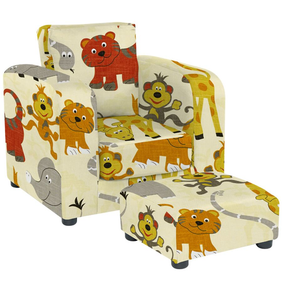 Three Styles Kids Leather Sofa and Cartoon Sofa With Footstool Single Child Sofa
