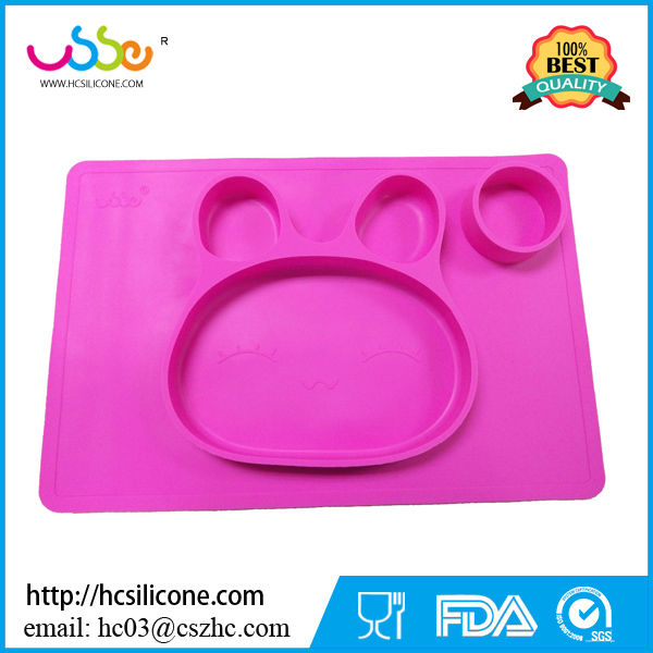 2017 new design one piece food grade non slip baby silicone placemat for kids