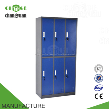 6 Door painted modern cheap metal mirrored wardrobe armoire