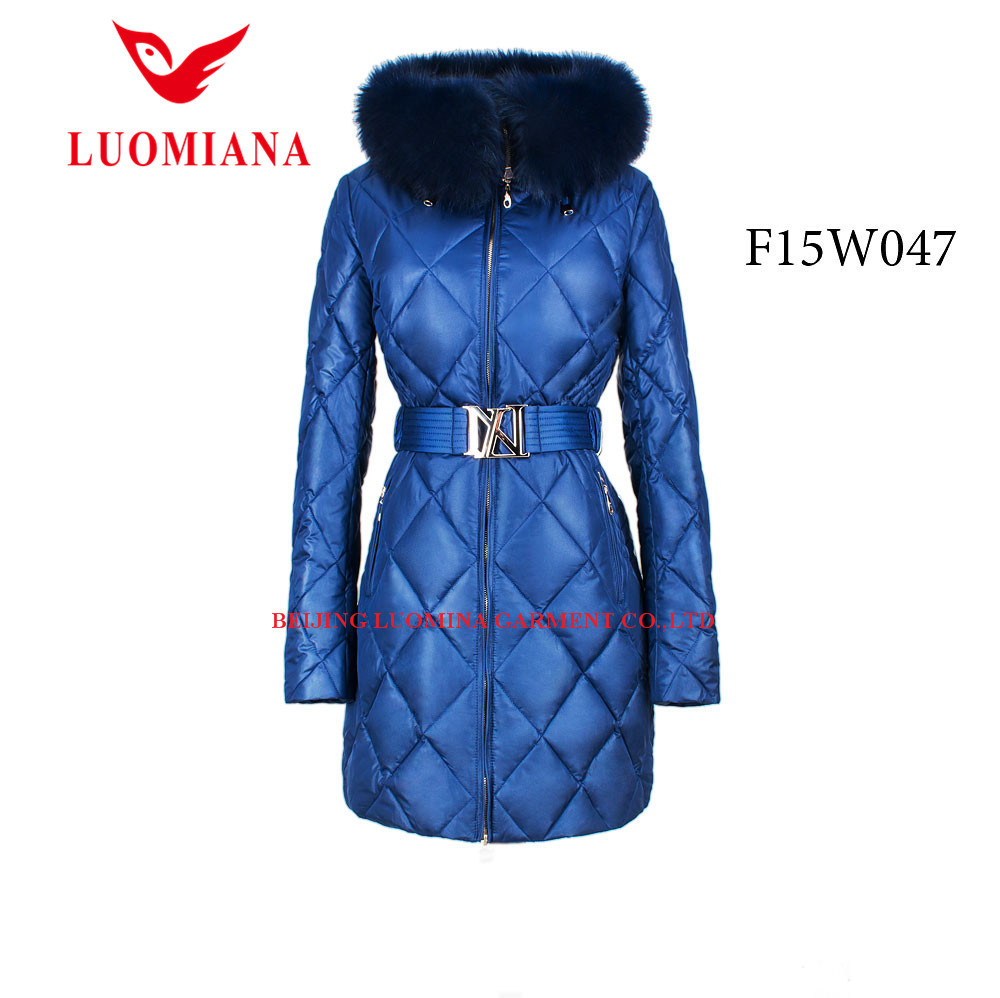 Winter hot sale women female down jackets and coats blazers with real big fur